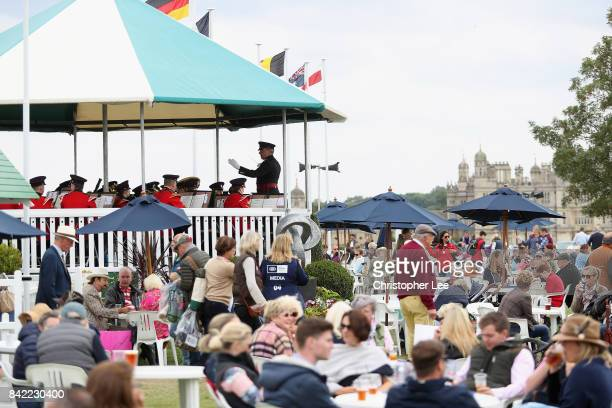 The Royal Yorkshire Regiment Band play for the spectators during Day Four of The Land Rover Burghley Horse Trials 2017 on September 2 2017 in...