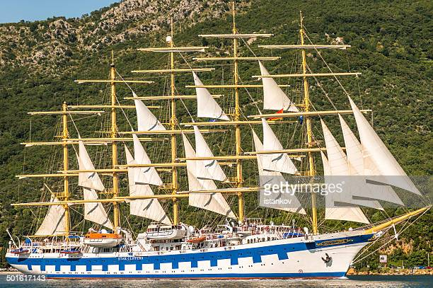 the royall clipper cruise liner - sailship - kotor bay stock pictures, royalty-free photos & images