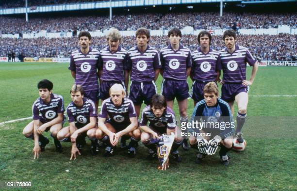 The R.S.C. Anderlecht team pose at Brussels during the second leg of the UEFA Cup Final between Tottenham Hotspur and Anderlecht, 23rd May 1984. Back...