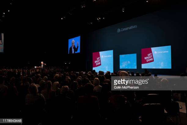 The Rt Hon Boris Johnson MP leader of the Conservative Party and Prime Minister of the United Kingdom delivering his keynote speech to the annual...