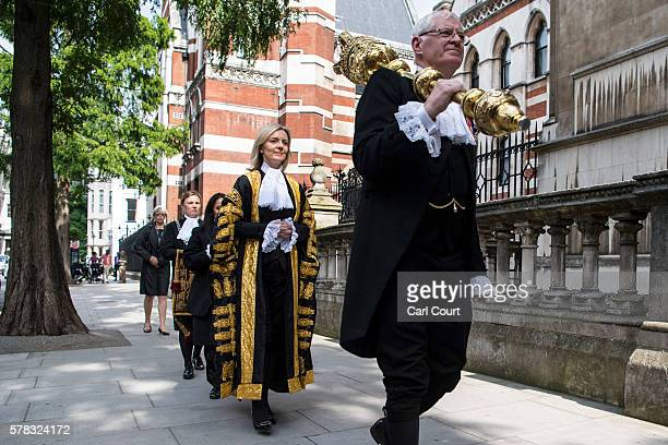 The Rt Hon Elizabeth Truss MP takes part in a ceremonial procession at the Royal Courts of Justice Strand on July 21 2016 in London England Liz Truss...