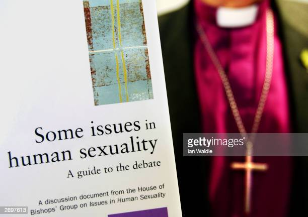 The Rt Reverend Richard Harries Bishop of Oxford holds a copy of 'Some Issues In Human Sexuality' November 4 2003 in London The document was...