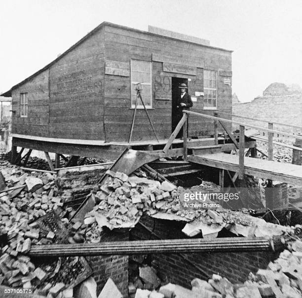 The rubble and broken buildings in the aftermath of the Great Chicago Fire October 10th 1871