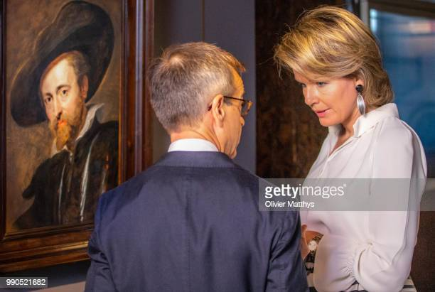 Queen Mathilde of Belgium smiles at the crowd after visiting The Master Lives exhibition at the Peter Paul Rubens House on July 3 2018 in Antwerpen...