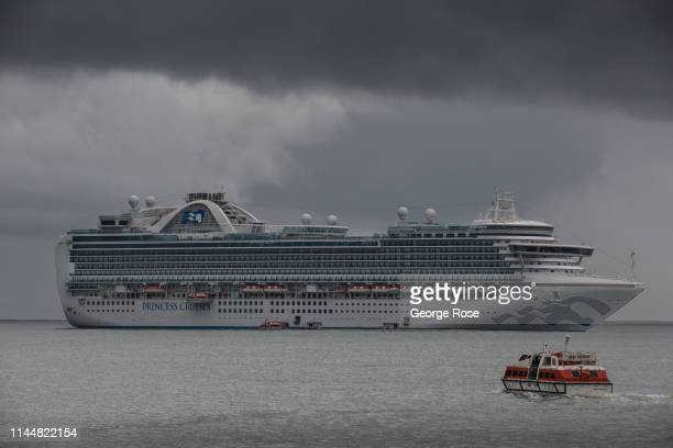 The Ruby Princess, a Grand-class cruise ship operated by Princess Cruises, drops anchor in the Santa Barbara Channel on February 15 in Santa Barbara,...
