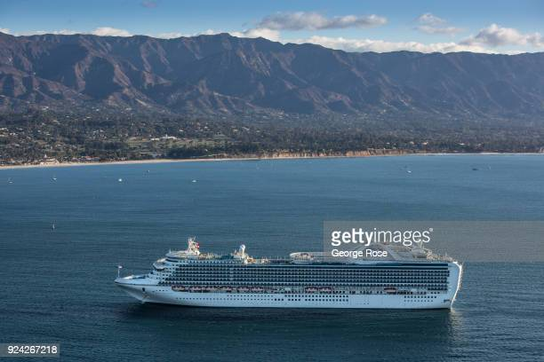 The Ruby Princess a Grandclass cruise ship operated by Princess Cruises is viewed in this aerial photo docked in the harbor on February 23 in Santa...