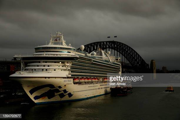 The Ruby Princess docks at Overseas Passenger Terminal on February 08, 2020 in Sydney, Australia. Authorities around the world are imposing travel...