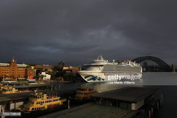 The Ruby Princess docks at the Overseas Passenger Terminal on February 08, 2020 in Sydney, Australia. Authorities around the world are imposing...