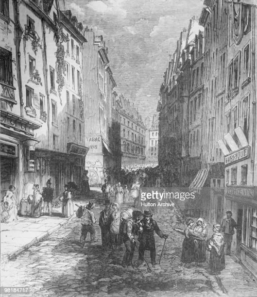 The Rue de la MontagneSainteGenevieve in the 5th arrondissement of Paris circa 1800 Illustration entitled 'Paris Demolitions'