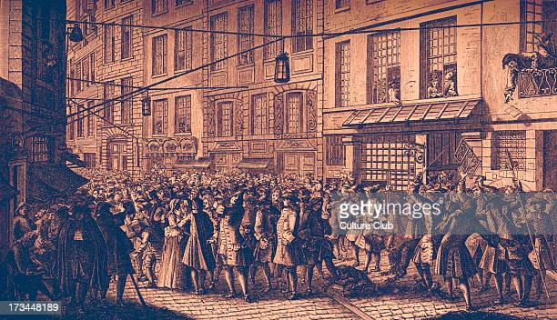 The rue de Quincampoix Paris France during the uprisings of 1718 against monarchy's financial crippling of the population Revolt crowd revolution