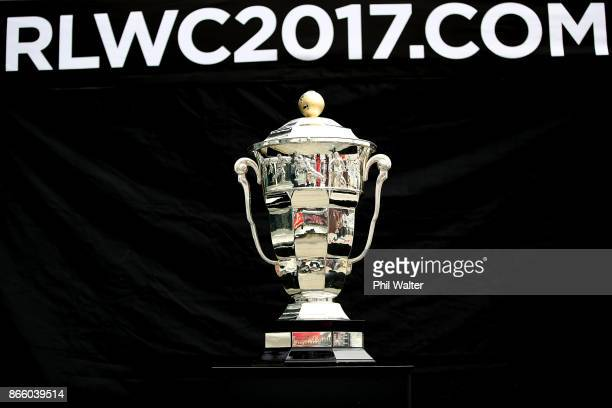 The Rugby League World Cup is pictured during the New Zealand and Samoa Rugby League World Cup 2017 Team Welcome at Wynard Quarter on October 25 2017...