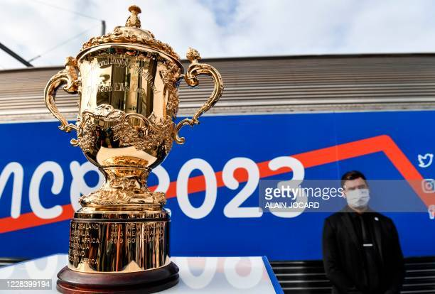 """The rugby world cup is exhibited as part of the inauguration of the """"We love 2023 tour"""", a train launched for the 2023 rugby world cup - Webb Ellis..."""