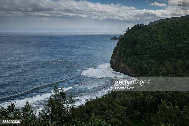 The rugged coastline is viewed from the Pololu Valley Lookout on December 17 near Kapaau on the Kohala Coast Hawaii Hawaii the largest of all the...