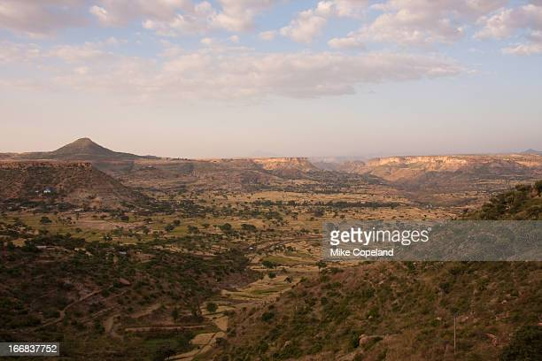the rugged sandstone mountains and valleys around adwa in tigray province, northern ethiopia is where the forces of emperor menelik ii of abyssinia defeated the italian army in 1896. - tigray stock photos and pictures