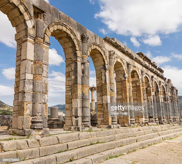 The ruined Basilica at Volubilis, an ancient Roman town near Meknes in Morocco, North Africa