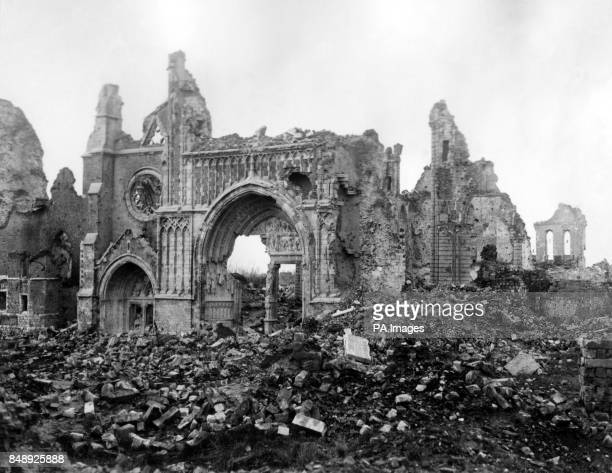 The ruined cathedral of Ypres in Belgium