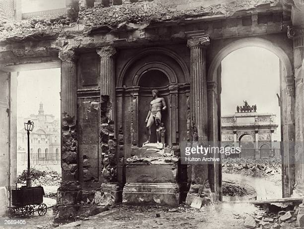 The ruined interior of the Palais des Tuileries in Paris. It was destroyed in 1871 by supporters of the Commune of Paris, the French revolutionary...