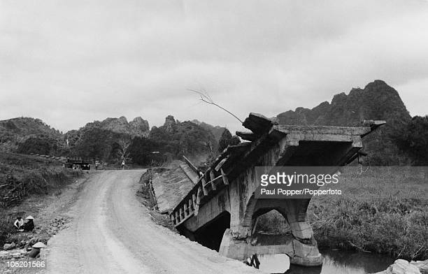 The ruins of a bridge on the road between Hanoi and Bien Hoa in Vietnam, circa 1955. It was the scene of a fierce battle in February 1952.