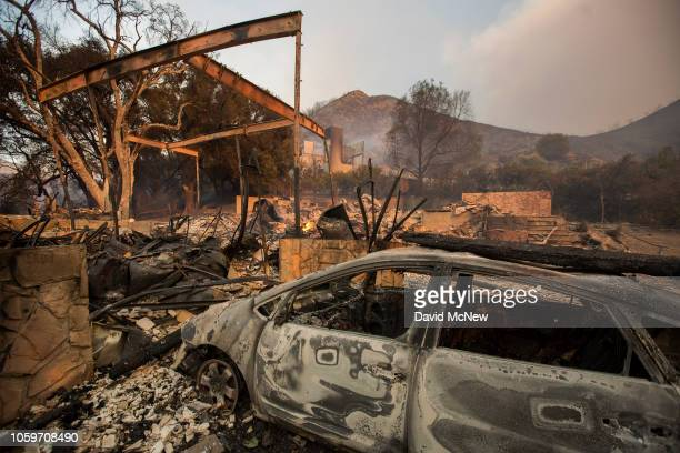 The ruins of a burned home is seen during the Woolsey Fire on November 9 2018 near Malibu California About 75000 homes have been evacuated in Los...