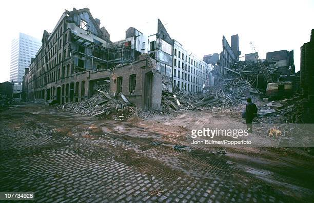 The ruins of a factory building being demolished in Manchester England in 1976