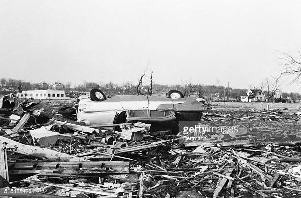 The ruins of a house in which Mrs Fred Montie was killed scattered the area after a 30 second tornado ripped through the southeast corner of the town...