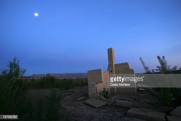 The ruins of an ice cream parlor in Mormon pioneer town Saint Thomas flooded 70 years ago by the rising waters of the Colorado River when it was...