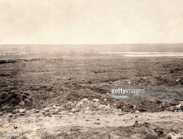The ruins of Aveluy with the River Ancre beyond on the Western Front during World War One circa 1918 The Western Front was a meandering line of...