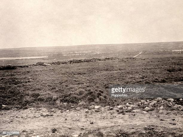 The ruins of Aveluy with the River Ancre in the distance on the Western Front during World War One circa 1918 The Western Front was a meandering line...