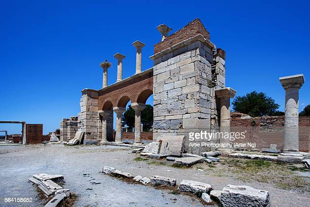 the ruins of basilica of st john on ayasuluk hill near ephesus, selcuk, izmir province, turkey - justinian i stock pictures, royalty-free photos & images