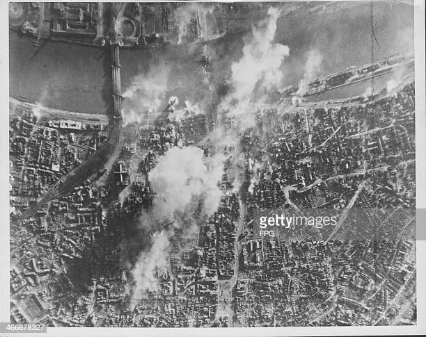 The ruins of Berlin seen from above following allied bombing raids World War Two the collapsed suspension bridge can be seen over the Rhine Germany...