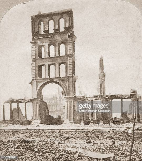The ruins of Bigelow House in Chicago, after the Great Chicago Fire, 1871.