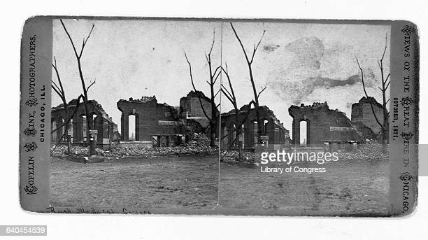 The ruins of buildings after the Great Chicago Fire of 1871