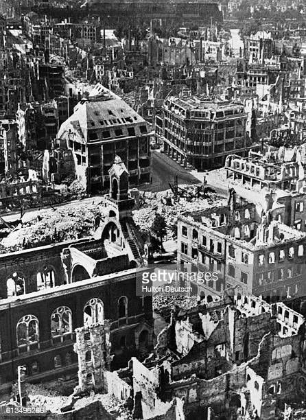 The ruins of buildings in the city of Dresden after firebombing raids 1945