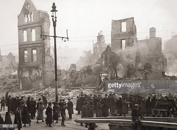 The ruins of Cork city centre after the Royal Irish Constabulary Reserve Force, better known as the Black and Tans, started fires in retaliation for...