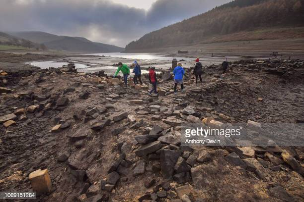 The ruins of Derwent Hall are exposed by low water levels in Ladybower reservoir on November 18 2018 in Sheffield England The villages of Derwent and...