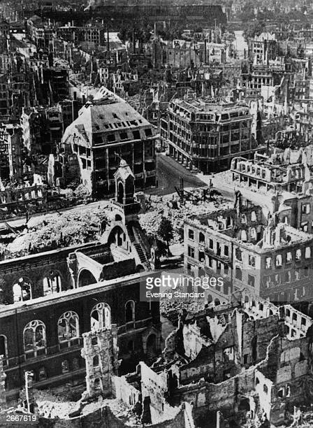The ruins of Dresden after the Allied bombing raid