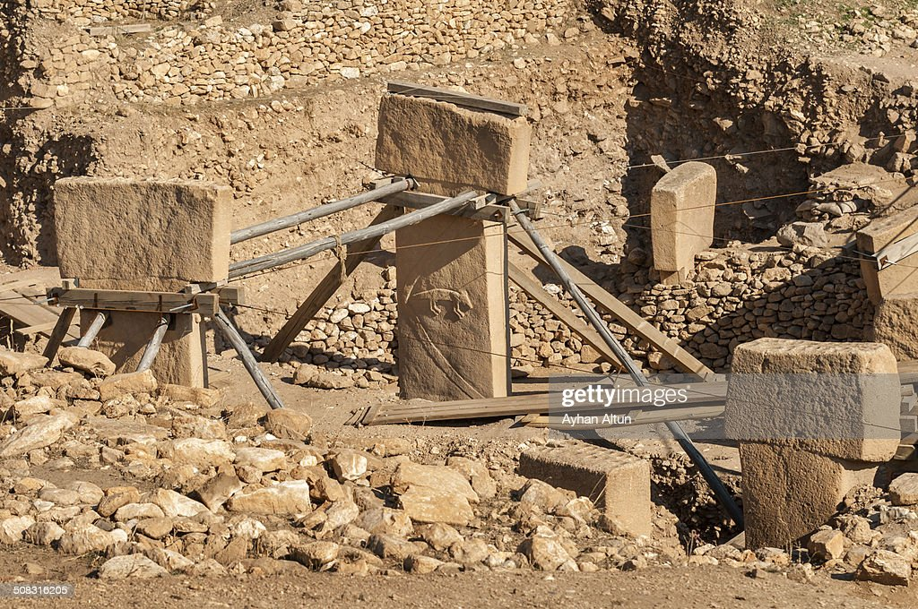 The ruins of Gobekli Tepe in Sanliurfa : Stock Photo