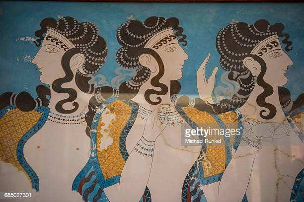 the ruins of knossos, the largest bronze age archaeological site, minoan civilization, crete, greek islands, greece, europe - ancient civilization photos et images de collection