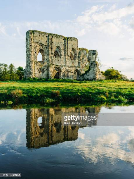the ruins of newark abbey at sunset, surrey - stock photo - british royal family stock pictures, royalty-free photos & images
