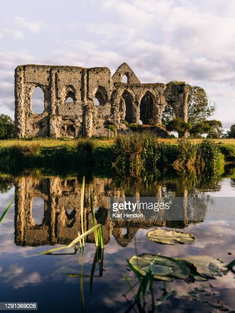 the ruins of newark abbey reflected in a stream, surrey - stock photo - british royal family stock pictures, royalty-free photos & images