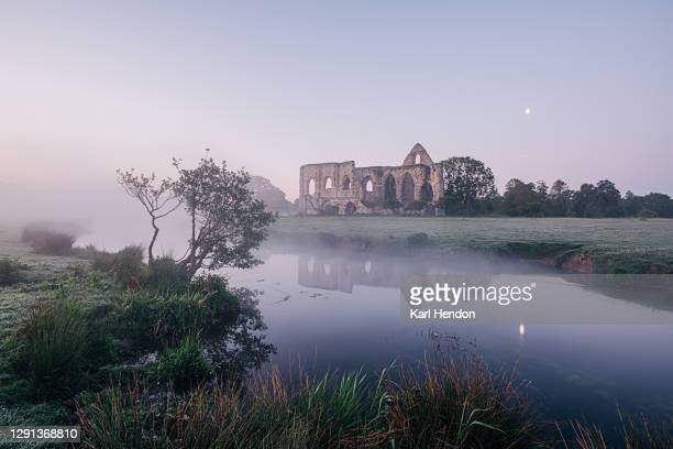 the ruins of newark abbey reflected in a stream with the setting moon, surrey - stock photo - british royal family stock pictures, royalty-free photos & images