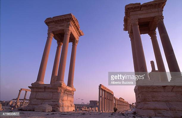 The ruins of Palmyra an ancient Semitic city which was once on the crossroad to the Silk Road and an important trading point in the middle of the...