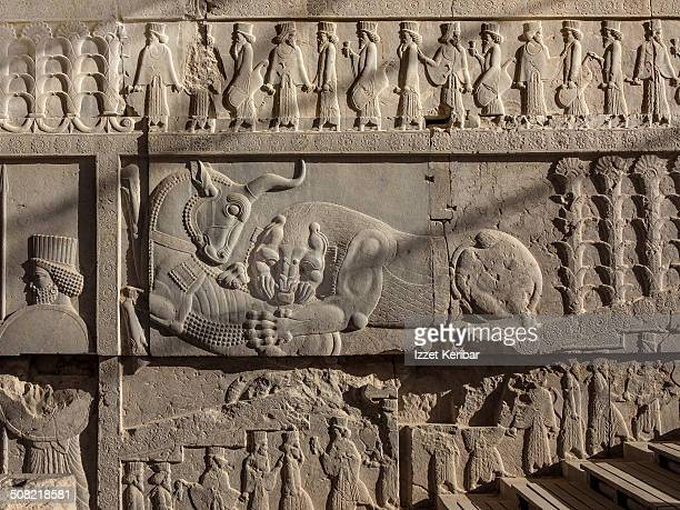 the ruins of persepolis, shiraz, iran - bas relief stock pictures, royalty-free photos & images
