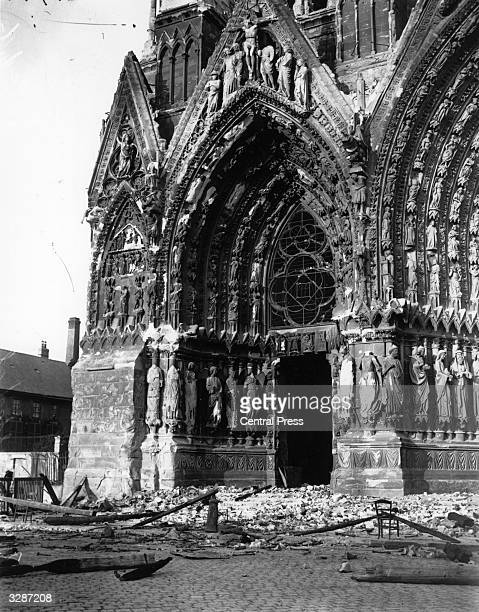 The ruins of Reims Cathedral after artillery bombardment by the German army