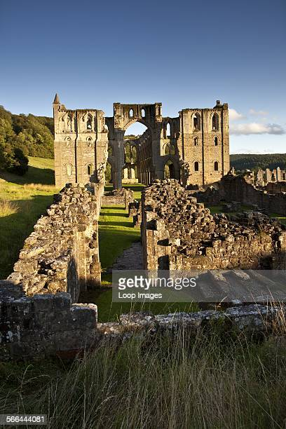 The ruins of Rievaulx Abbey, one of the first Cistercian abbeys to be founded in England, in the North York Moors National Park.