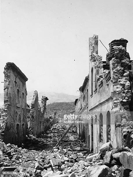 The ruins of Rue Victor Hugo after the blast of the Mount Pelee volcano on May 10 1902 at St Pierre Martinique
