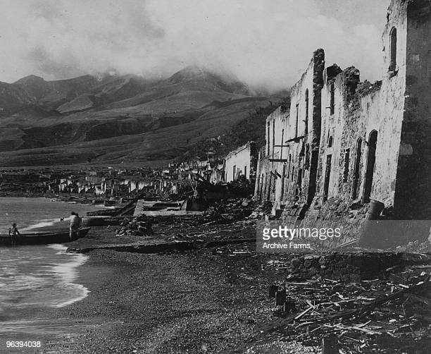 The ruins of Rue Victor Hugo and La Place Du Mouillage after the blast of the Mount Pelee volcano on April 3 1903 at St Pierre Martinique