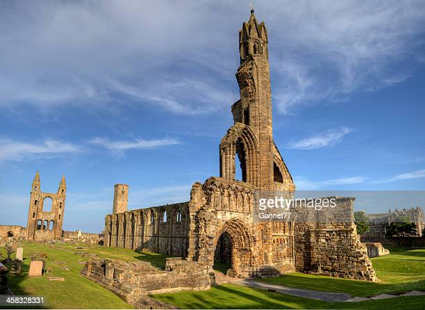 the ruins of st. andrews cathedral, scotland - st. andrews scotland stock pictures, royalty-free photos & images