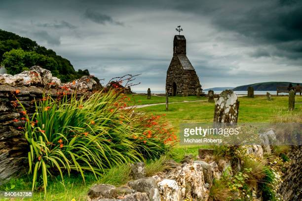 The ruins of St Brynach church at Cwm yr Eglwys on the Dinas Island peninsula between Newport and Fishguard, Pembrokeshire