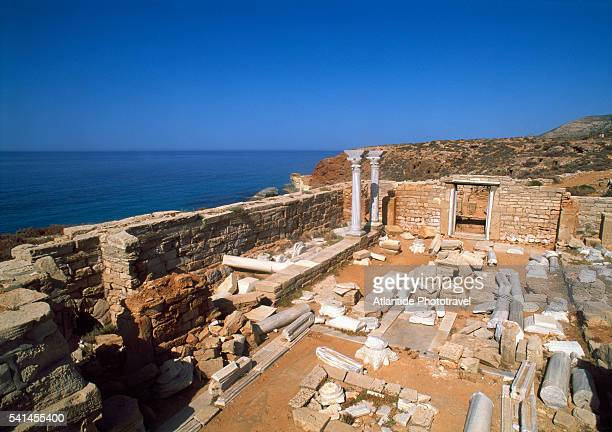 the ruins of the 6th century byzantine church of al athrun on a rocky spur overlooking the sea - byzantine stock pictures, royalty-free photos & images
